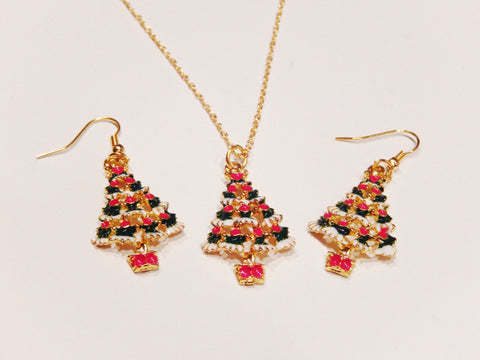 18k Gold Plated Christmas Tree Necklace and Earrings Set