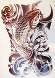 Large Black Koi Fish Temporary Tattoo