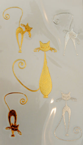 Small Cute Gold and Silver Metallic Kitty Temporary Flash Tattoos