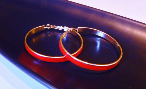 Gold and Red Enamel Hoop Earrings