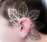 Stunning One Piece Hollow Leaf Gold Ear Cuff