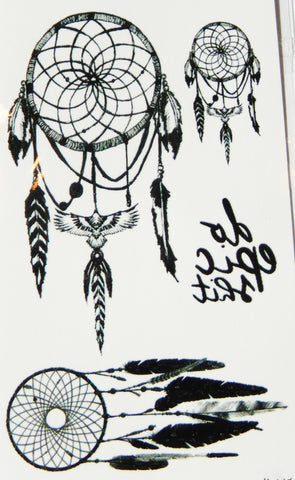 Black and White Dream Catcher Temporary Tattoos