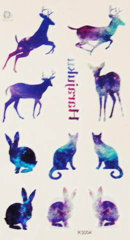 Deer, Cat, Rabbit Patterns Temporary Tattoos