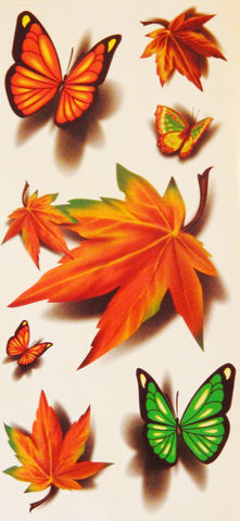 Fall Leaves and Butterflies Temporary Tattoos for Halloween
