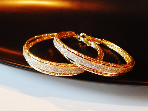 Three Row Gold Frosted Hoop Earrings