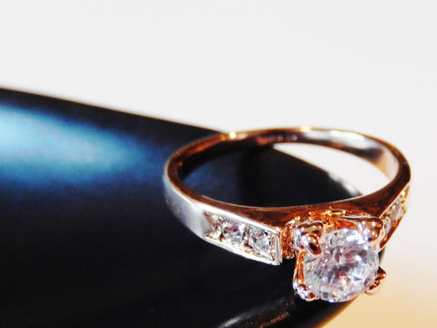 18k Gold Plated Cubic Zirconia Wedding / Engagement Ring