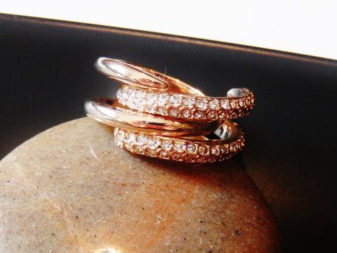 18k Gold Plated Cubic Zirconia 2 Ring Set