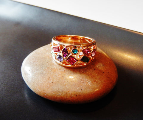 Beautiful 18k Rose Gold Plated Multicolor Crystal Ring - Jewelry Jills