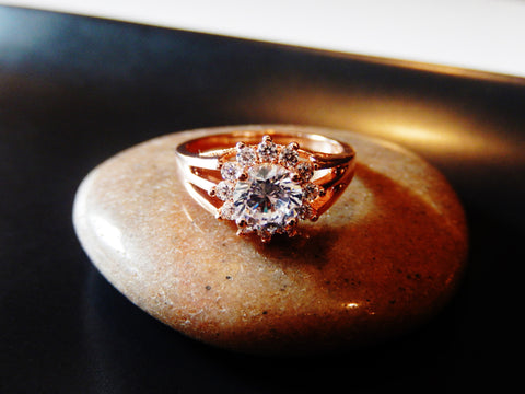 18k Rose Gold Plated Cubic Zirconia Wedding / Engagement Ring