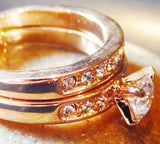 18k Gold Plated Cubic Zirconia Engagement / Wedding Ring Set