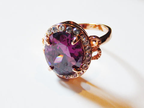 18K Gold Plated Stunning Large Purple Cubic Zirconia Ring