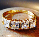 Dazzling Cubic Zirconia 18K Gold Plated Wedding Style Ring