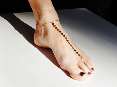 18k Gold Plated Ankle/Toe Beach Bracelet Chain