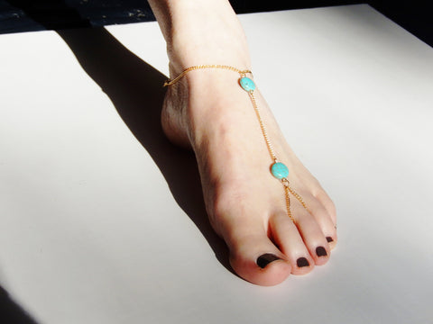 "One Piece ""Indian"" Ankle / Toe Turquoise Ankle Bracelet"