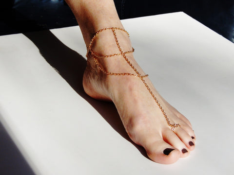 Gold Colored Multi Strand Anklet / Toe Bracelet Chain