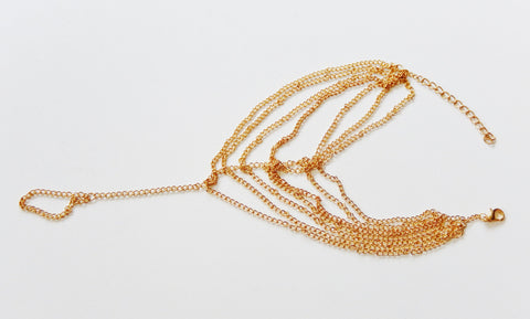 Gold Colored Multi Strand Anklet / Toe Chain Bracelet