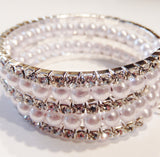 Swarovski Crystal and Faux Pearl Multi-Row Stretch Bracelet