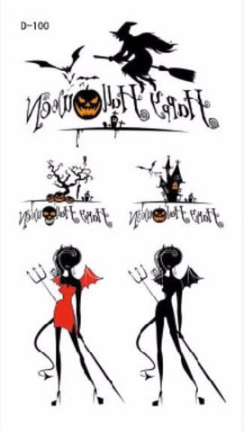 Halloween Cats, Angels, Witches, Devils Temporary Tattoos