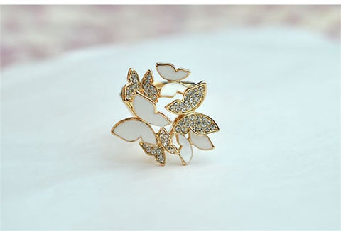 18k Gold Plated White Enamel and Crystal Butterflies Scarf Clip Buckle Hijab