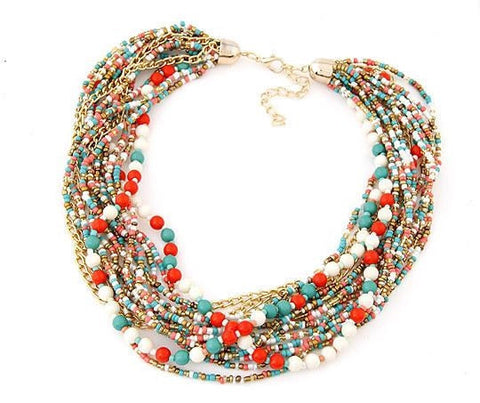 Beaded Bohemia Style Statement Choker Necklace for Women