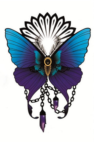 Halloween Butterfly Totem Temporary Tattoo with Super Sharp Details