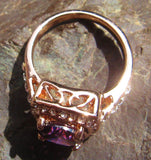 18k Rose Gold Plated Purple Cubic Zirconia Ring