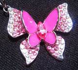 Platinum Plated Austrian Crystals Pink Butterfly Necklace