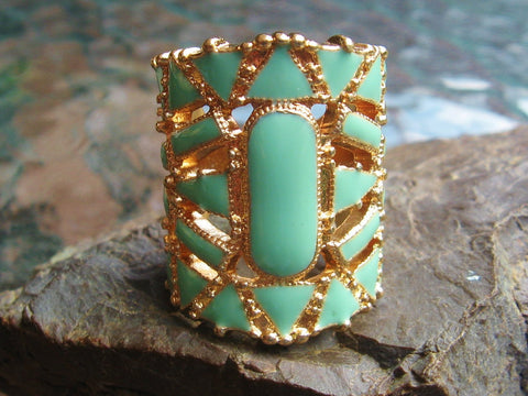 Gold Colored Enamel Statement Rings