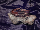 Mens Woven Leather and Rope Wristband