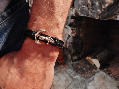 Multilayer Black Rope and Anchor Leather Wristband
