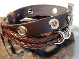 Mens Leather Grim Reaper Wristband