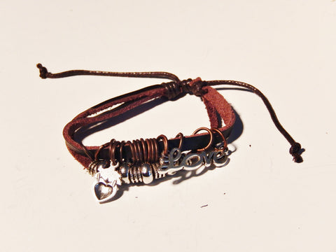 Womens Leather Charm Bracelet with Bangles