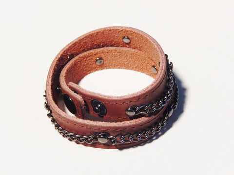 Double Wrap Leather Wristband