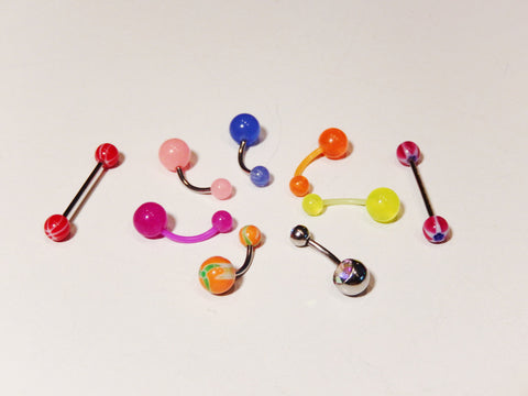 10 Studs Plastic Navel Ring Bar Bells