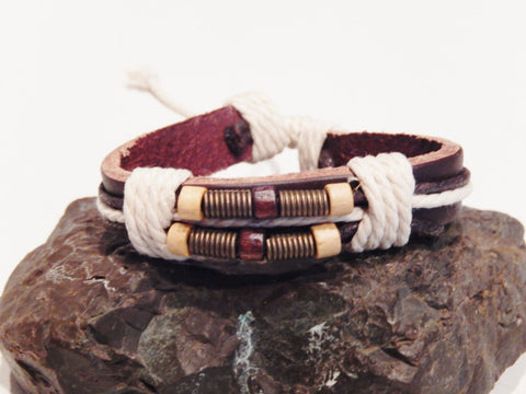 Leather and Rope Wristband