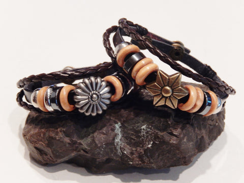 Braided Leather Metal Flower or Star Wristbands
