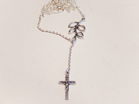 925 Sterling Silver Plated Leaf Crucifix Necklace