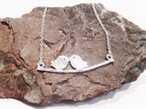 Platinum Plated Love Birds on a Branch Necklace