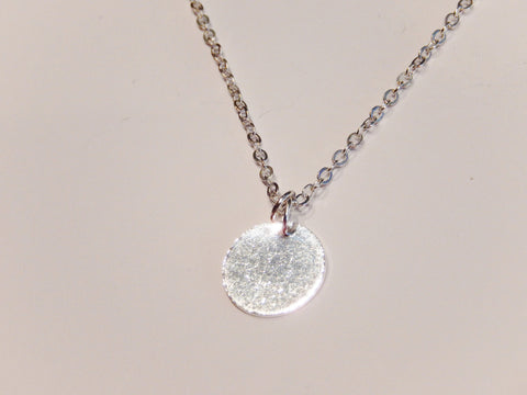 Tiny 925 Sterling Silver Disc Necklace