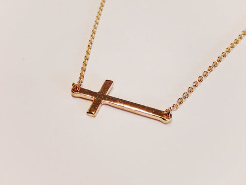 18K Gold Plated Small Sideways Cross Necklace