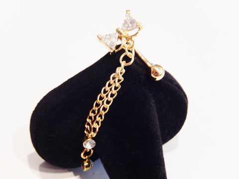 Gold Colored Dangle Belly Stud