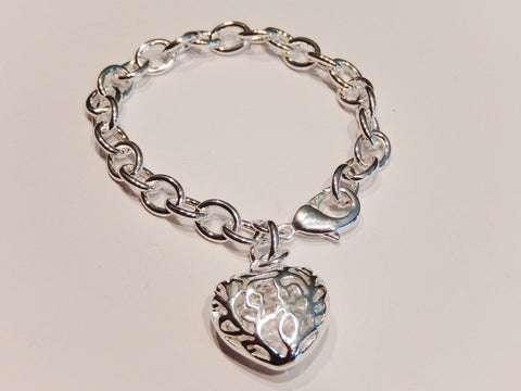 925 Sterling Silver Heart Bracelet for Women
