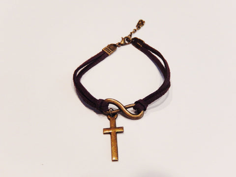 Cashmere Leather Infinity Cross Bracelet