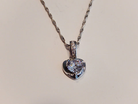 Platinum Plated Copper with Crystal Heart Necklace