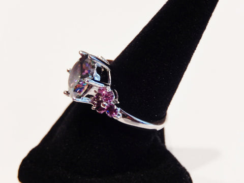 925 Sterling Silver Round Cut Rainbow Topaz and Amethyst Ring