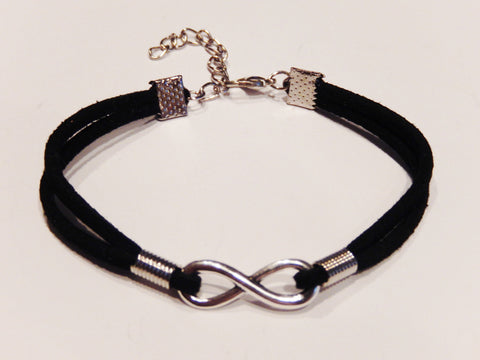 Silver Infinity Black Suede Leather Bracelet