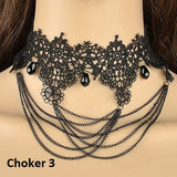 Gothic Tassel Lace Short Choker Necklace for Women