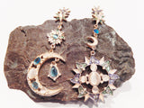 Crystal Sun and Moon Trendy Mismatched Drop Earrings Set
