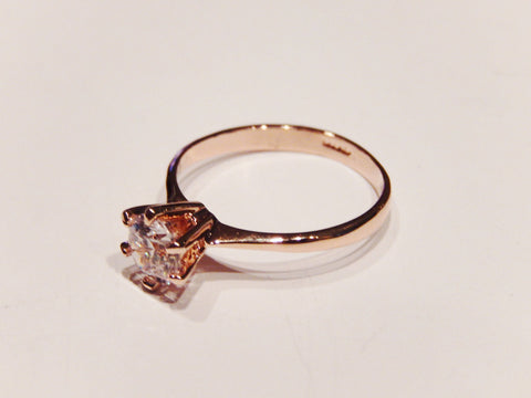 18K Gold Plated One Carat Cubic Zirconia Wedding / Engagement Ring