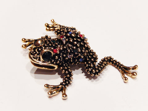 18k Gold Plated Frog Brooch